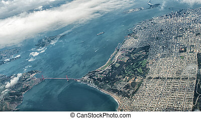 Aerial View of San Francisco and Golden Gate Bridge - The...