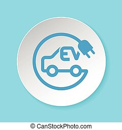 Electric car and plug symbol for EV