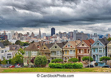 San Francisco - View of the victorian Painted Ladies...