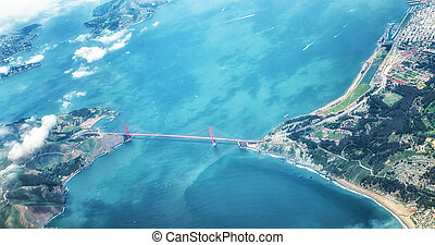 Aerial View of San Francisco Golden Gate Bridge - The Famous...