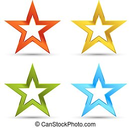 Full color star icons - Shiny full color star icons with...