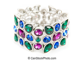 bracelet with color gems isolated on a white background