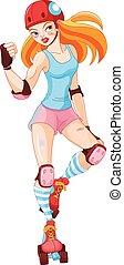 Roller Derby Girl - Illustration of cute roller derby girl