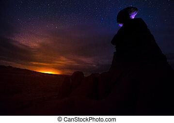 Goblin Valley at Night - Goblin Valley Eroded Hoodoos...