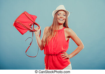 Fashion woman in hat and red shirt with handbag - Cute...