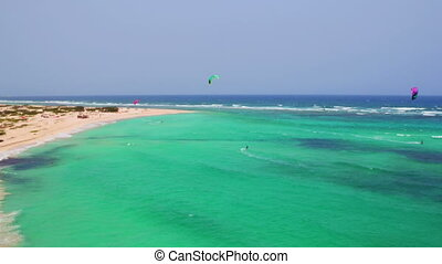 Aerial from Kite surfing at Aruba island in the Caribbean