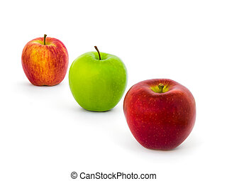Three Apples Varieties Isolate on White Background