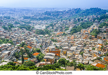 Buildings of Favela Santa Marta mountain behind in Rio de...