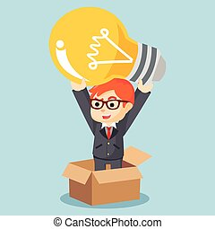 a businessman with a bulb thinking outside the box