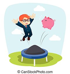 Businessman jumping on a trampoline together with pig bank