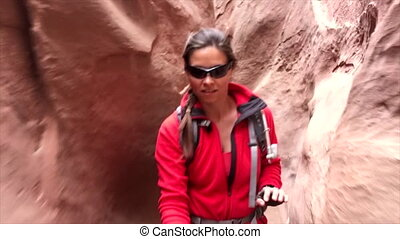 Exploring Little Wild Horse Canyon Utah - Young Women...