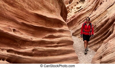 Hiker Girl inside Little Wild Horse Canyon Utah USA - Young...
