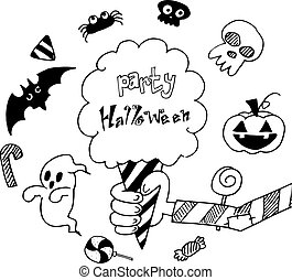 Halloween holiday background in doodle