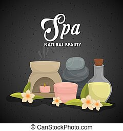 Candle and decoration Spa center design Vector graphic - Spa...