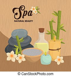 Stones and decoration. Spa center design. Vector graphic -...