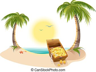 Pirate Treasure Chest on tropical island. Vector cartoon...