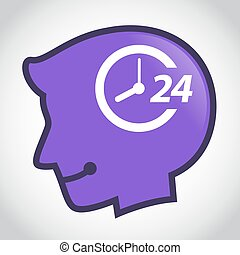 Silhouette of Human Head With Hour Symbol - Vector stock of...