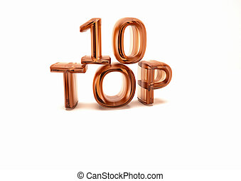 Top 10 3D render - Top 10 3D illustration on white...