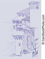Old buildings - Pen and ink sketch of old buildings by the...