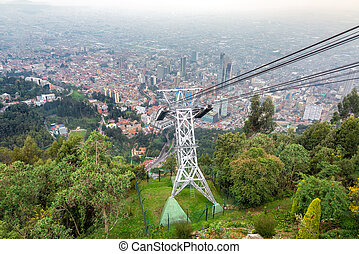 Aerial Tramway and Bogota, Colombia - Aerial tramway leading...