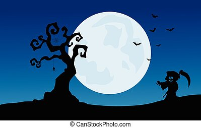 At night warlock scenery Halloween backgrounds and full moon