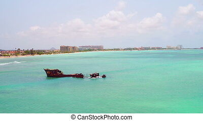Aerial from a ship wreck on Aruba island in the Caribbean...