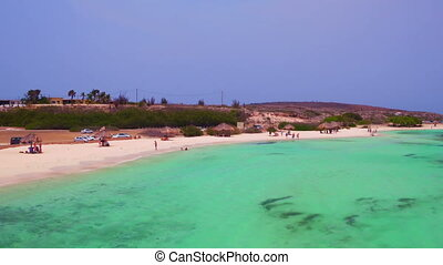 Aerial from Rogers beach on Aruba island in the Caribbean