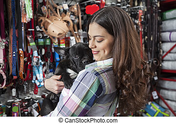 Beautiful Customer Hugging French Bulldog - Smiling...
