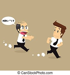 boss chasing a businessman working poor. vector