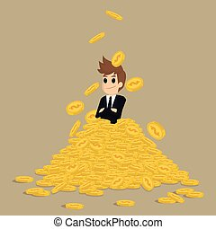 Successful businessman on gold stack coins
