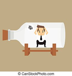 businessman impound in bottle.vector