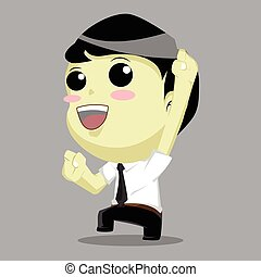 cartoon businessman happy and jumping
