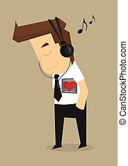 businessman listening to the needs of his heart. vector