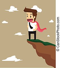 business man with high-level talents, standing on the top of a hill