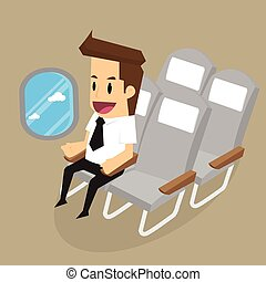 businessman on airplane looking outside.vector
