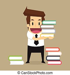 businessman learn and reading a book