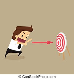 businessman throw arrow on target