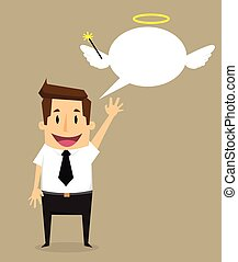 businessman idea with angel.vector