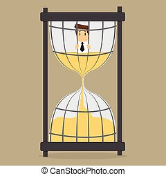 businessman in prison Hourglass time.vector