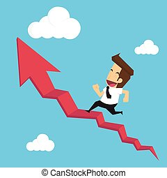 businessman run on stair red arrow