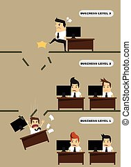 Kicked out businessman dropped level.vector