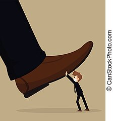 illustration of cartoon businessman carry stomping foot in oppressive concept
