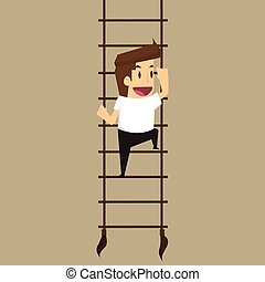 businessman climbs upstairs for professional growth.vector