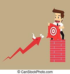businessman entice arrow bull hit targets. vector