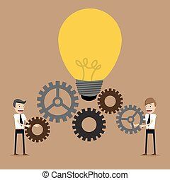 Illustration of businessman with gears, team work, Vector...