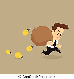 Businessman bulb idea that fall from the bag. vector