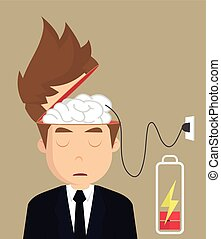 businessman brain charger .vector