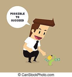 businessman with sprout business It is possible to succeed. future