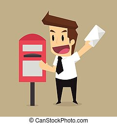 businessman messaging mailbox