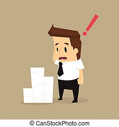 Businessman and a lot of documents.vector